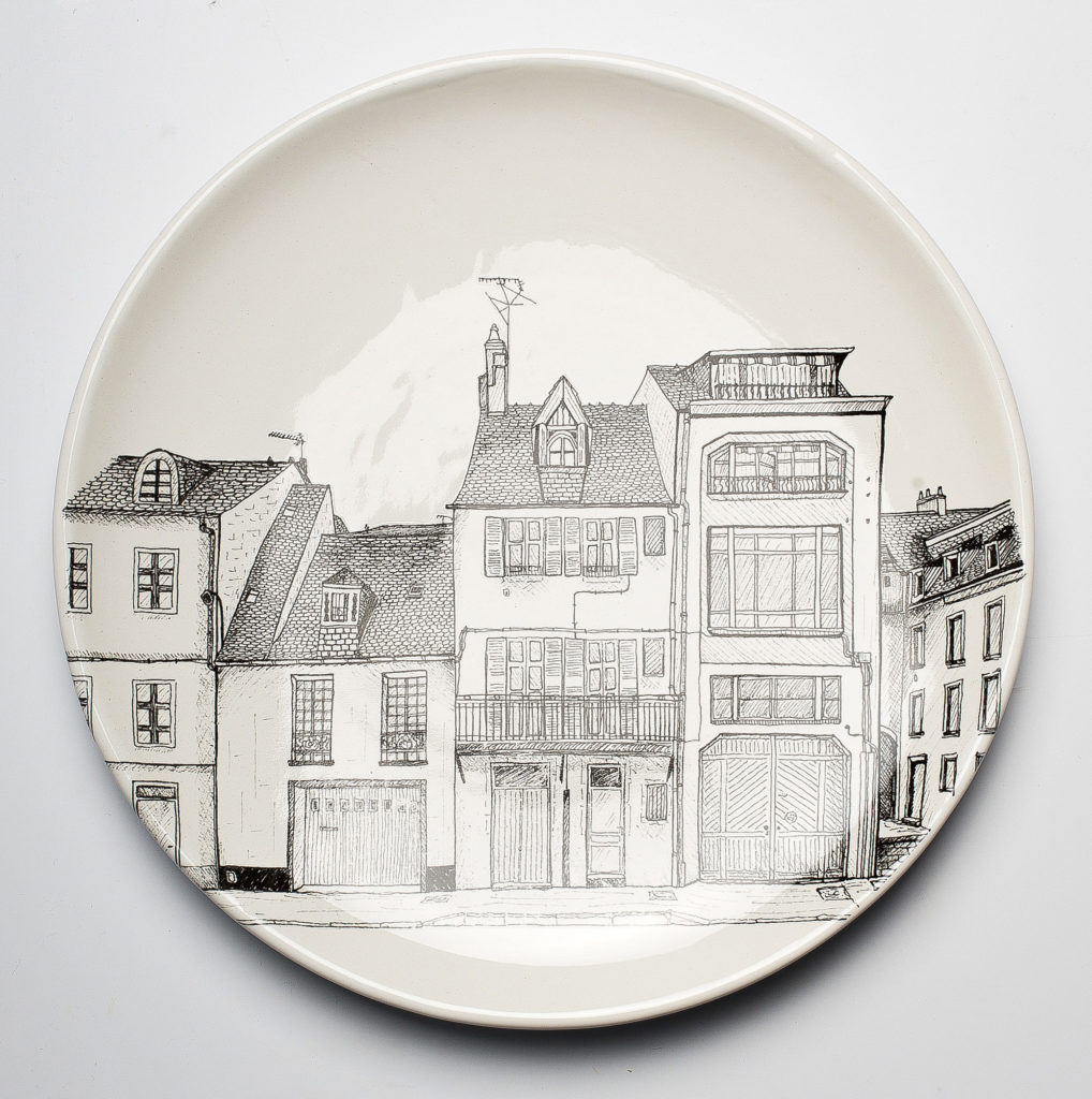 Nevers drawings black decals decorate plate earthenware Faïencerie Georges city Nevers France Anne-Sophie Guerinaud