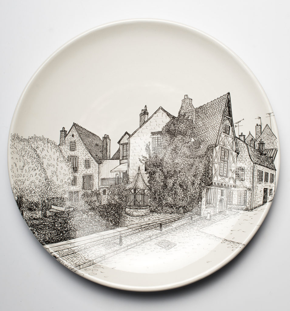 Nevers drawing ink decals decoration plate earthenware Faïencerie Georges landscape city Nevers France Anne-Sophie Guerinaud